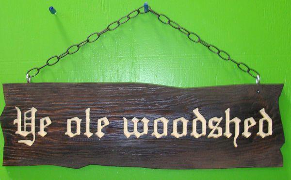 "GC704 - Carved and Sandblasted Oak Sign, ""Ye Old Woodshed"""