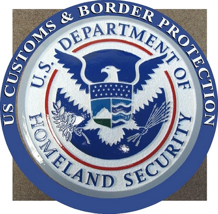 U30173 -Homeland Security Seal Personalized Carved Wood Wall Plaque