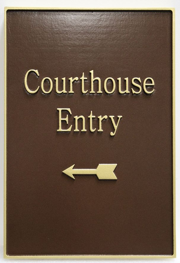 A10892-  Carved 2.5D Raised Relief HDU Entry Directional  sign for the Miami County Courthouse