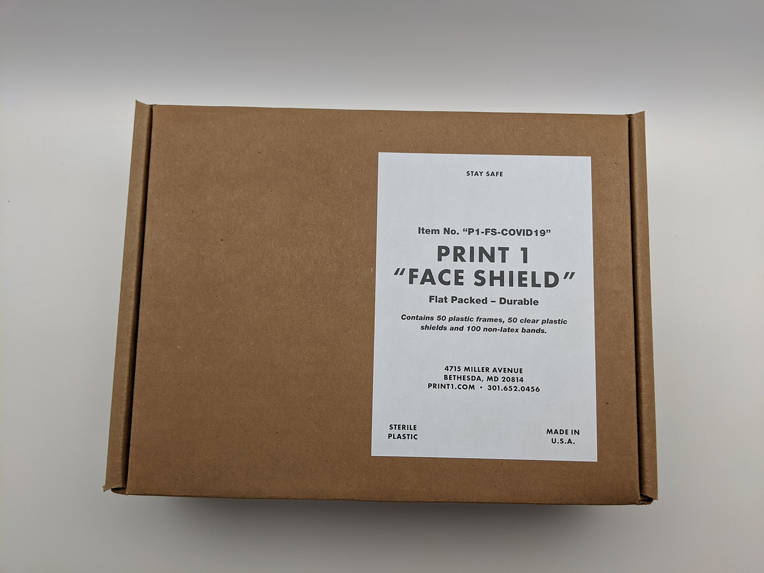 Case of 50 Face Shields