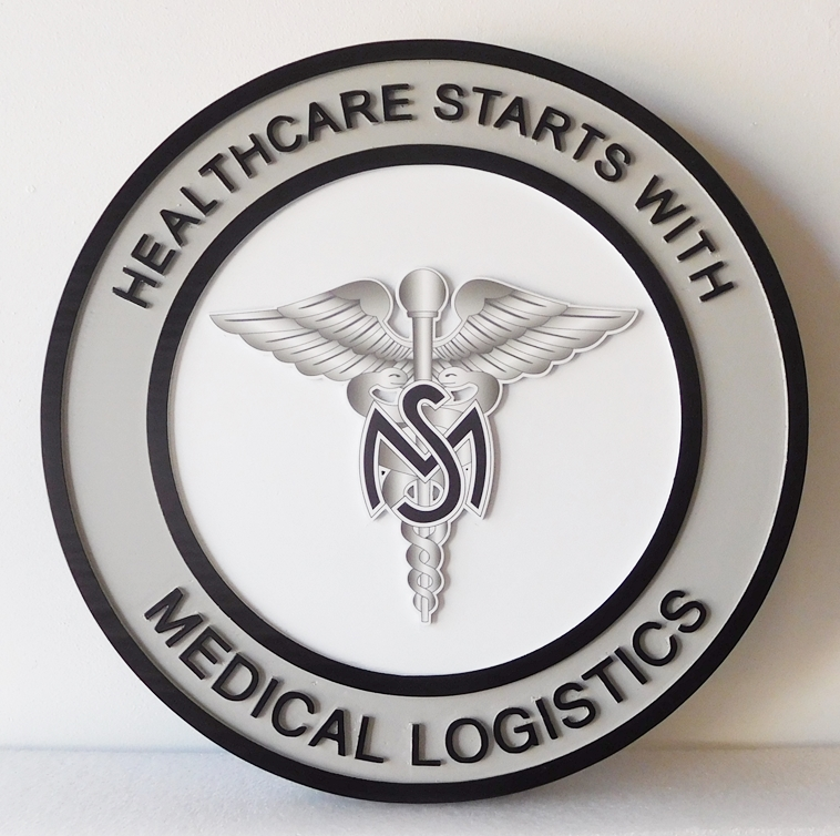 """B11158 - HDU Plaque with Medical Caduceus for """"Healthcare Starts with Medical Logistics."""""""