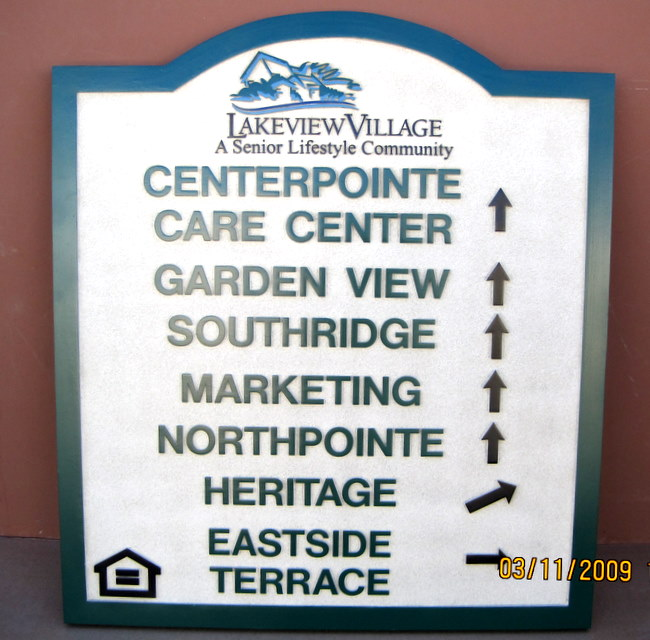 "KA20600 - Carved Wood Look HDU Sign for ""Lakeview Village Senior Lifestyle Community"" with Equal Housing Symbol"