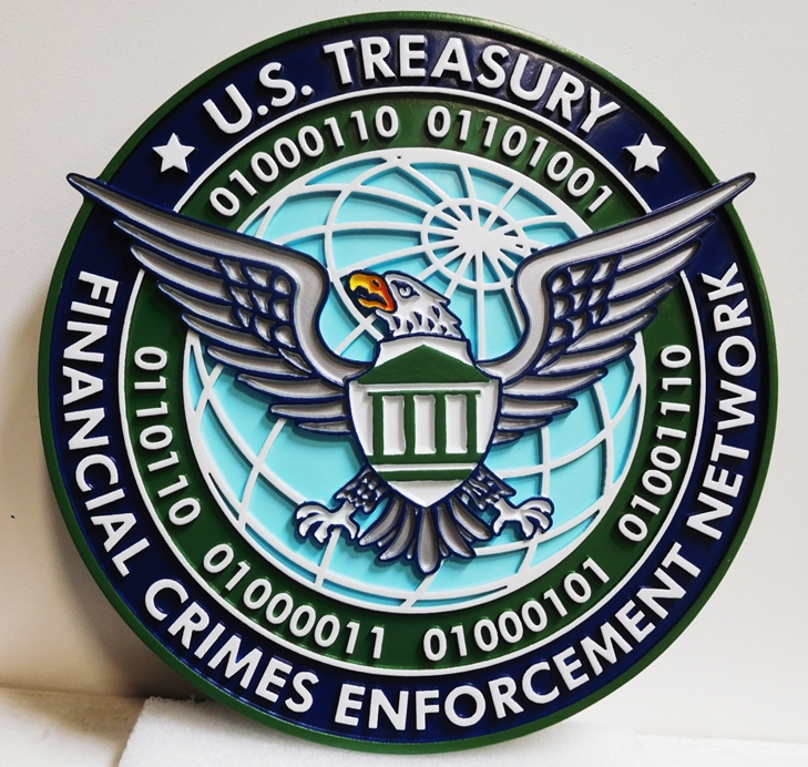 AP-4697 - Carved Wall Plaque for the US Department of the Treasury, Financial Crimes Enforcement Network. 2.5-D Raised Outline Relief