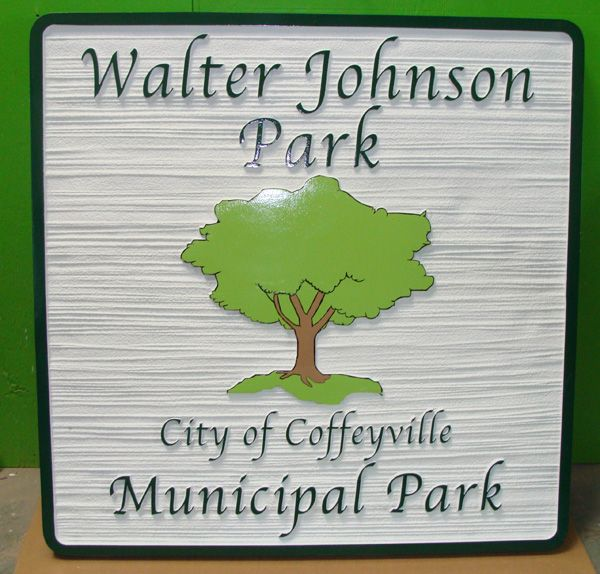 GA16473 - Carved HDU Sign for Municipal Park with Carved Tree
