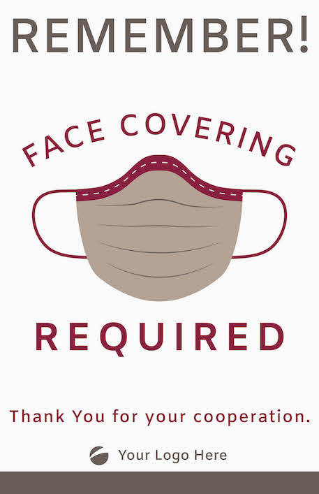 Face Covering Sign - Maroon/Grey