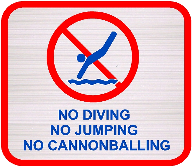 "GB16771 - Carved, Wood Grain Texture, HDU Sign for Pool, ""NO JUMPING,"" ""NO CANONBALLING,"" and ""NO DIVING"" with Pictogram"