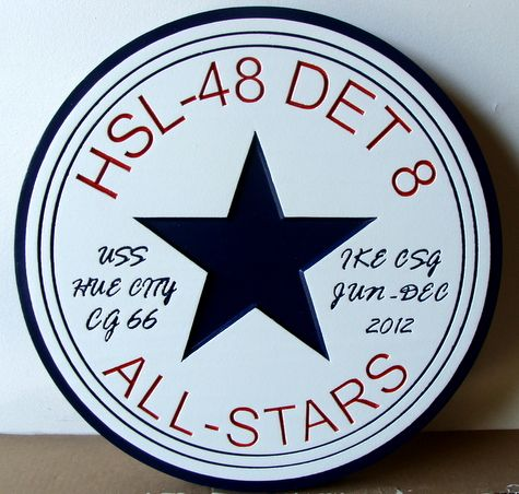 JP-1284 -  Engraved  Plaque for HSL-48,DET 8, for CG 66 Hue City Guided Missile Cruiser, Artist Painted