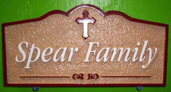 I18294 I18291 - Carved HDU  Residence Name Sign, with Cross