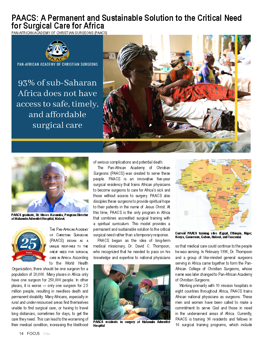 PAACS: A Permanent and Sustainable Solution to the Critical Need for Surgical Care for Africa