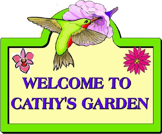 LG947 - Carved Garden Sign with  Hummingbird