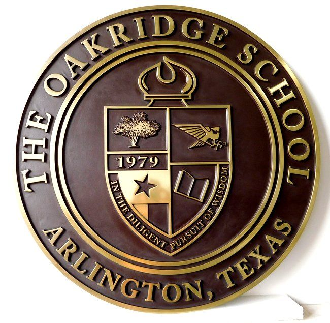 Y34703 - Carved 2.5-D  Round Wall Plaque of the  Seal of The Oakridge School, with its Coat-of-Arms (Brass Metal Plated)