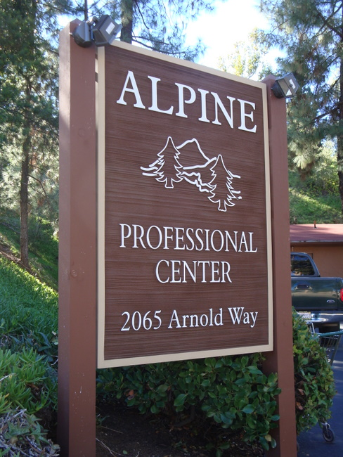 "S28024 - Sandblasted Wood Grain HDU Sign for "" Alpine Professional Center "",  with  Trees and Mountain"