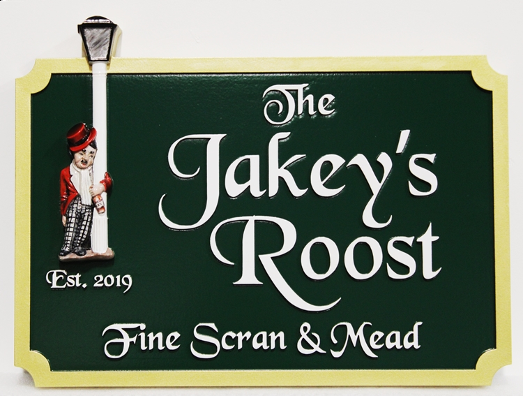 "RB27553 - ""The Jakey's Roost"" Pub Sign , with Artwork (Inebriated Man  Hanging on to the Lamp Post) Carved in 3-D Bas-relief"