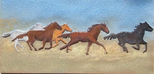 P25367- Carved Herd of Wild  Horses in Full Gallop