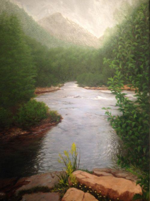 "Telluride Stream, Oil on canvas, 24"" x 24"""