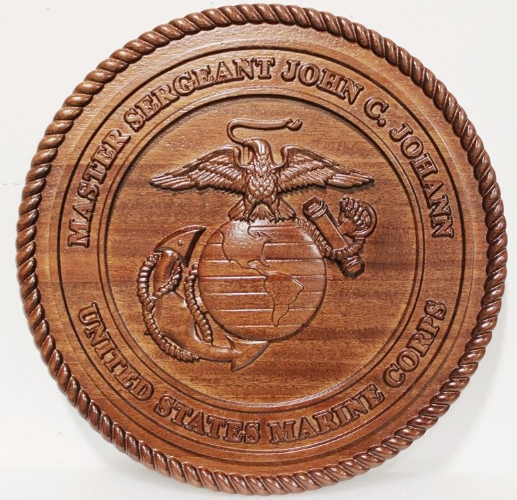 KP-1225 - Carved 3-D Mahogany Plaque of the Emblem of the US Marine Corps for a Master Sergeant