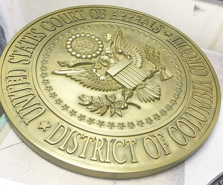 U30135 - 3-D Bas-Relief Polished  Brass Wall Plaque for United States Court of Appeals, District of Columbia Circuit