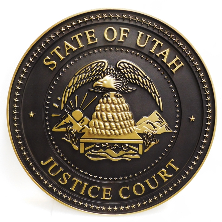 GP-1395 - Carved Plaque of the Seal ofa Justice Court, State of Utah, 3-D Brass-plated