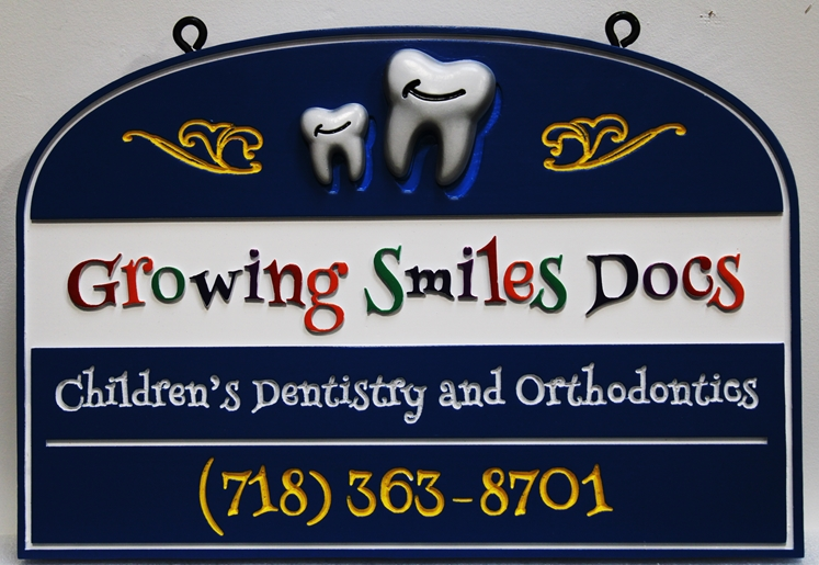 """BA11613 - Entrance Hanging CarvedSign for the """"Growing Smiles Docs"""" Children's Dentistry and Orthodontics Office"""