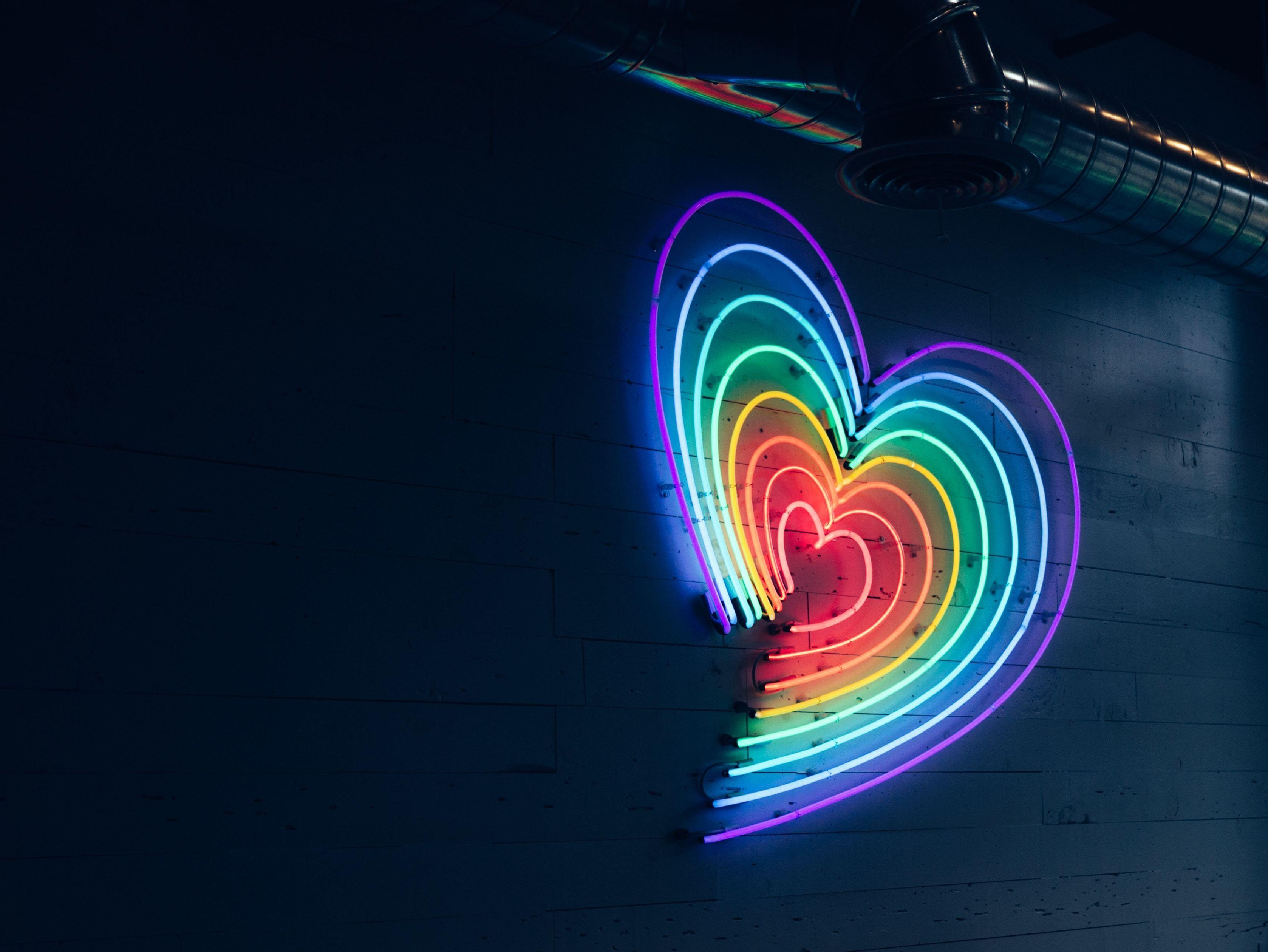 neon rainbow pride month