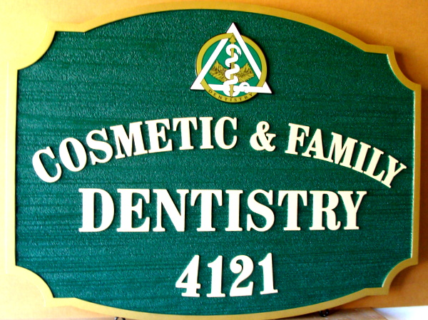 BA11571 – Carved and Sandblasted Cosmetic and Family Dentistry Sign, with Dentistry Caduceus Symbol