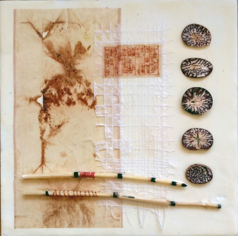 "Meditation Series - The Five Elements, encaustic and mixed media, 10"" x 10"""