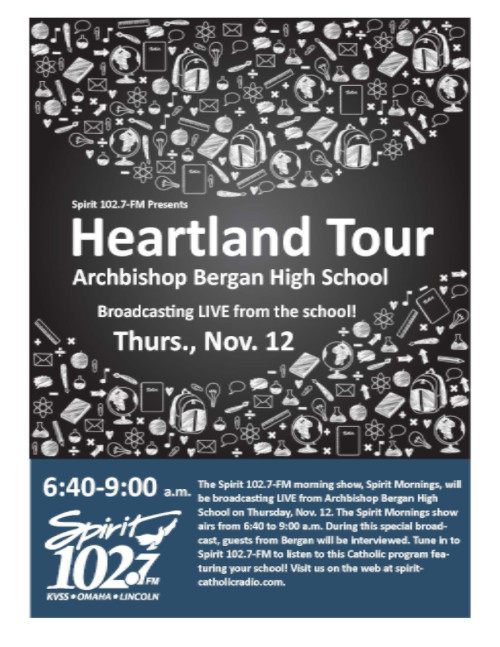 Heartland Tour Broadcasting LIVE from Bergan High School on November 12th