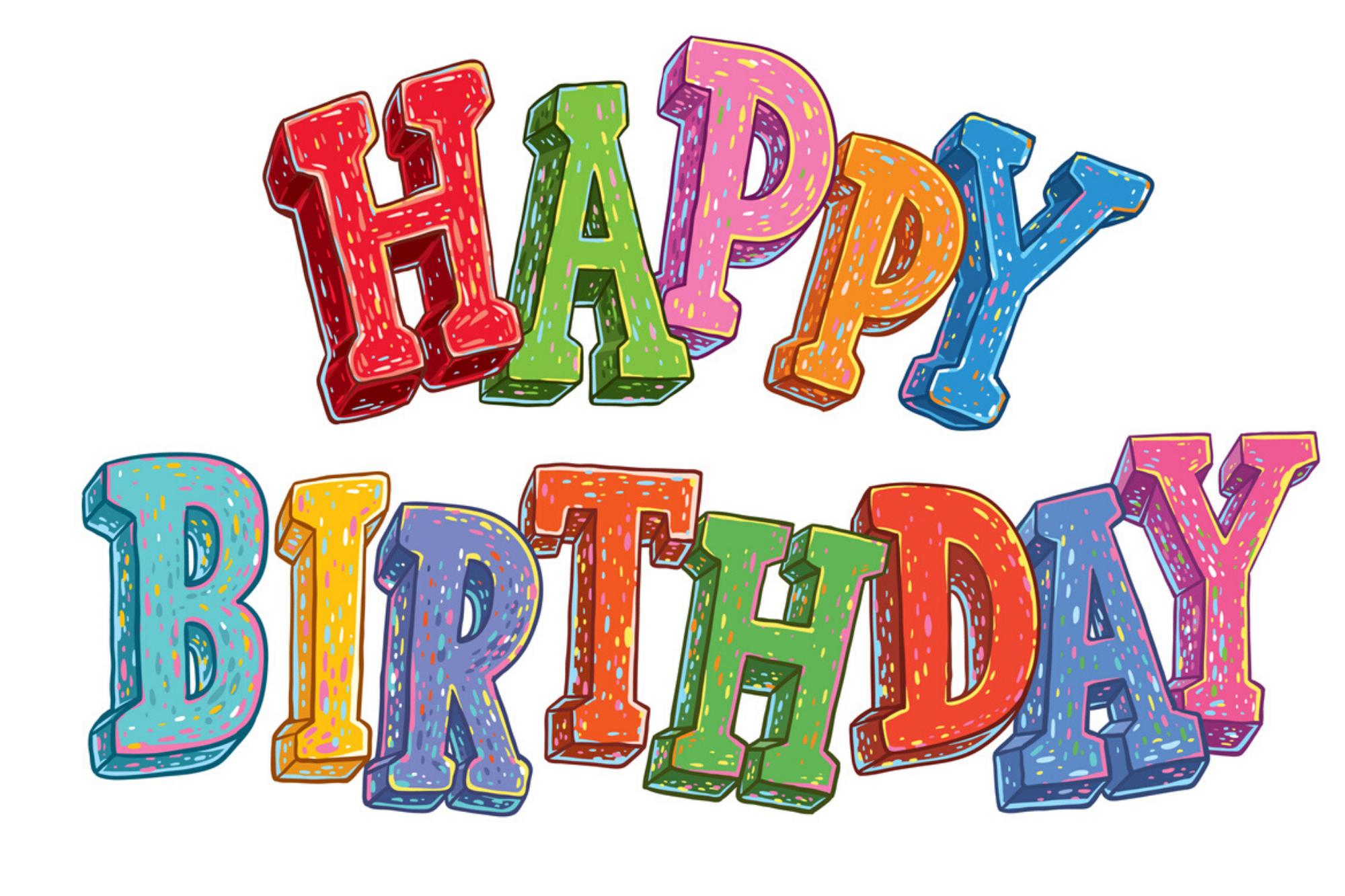 Happy Birthday Colorful Block
