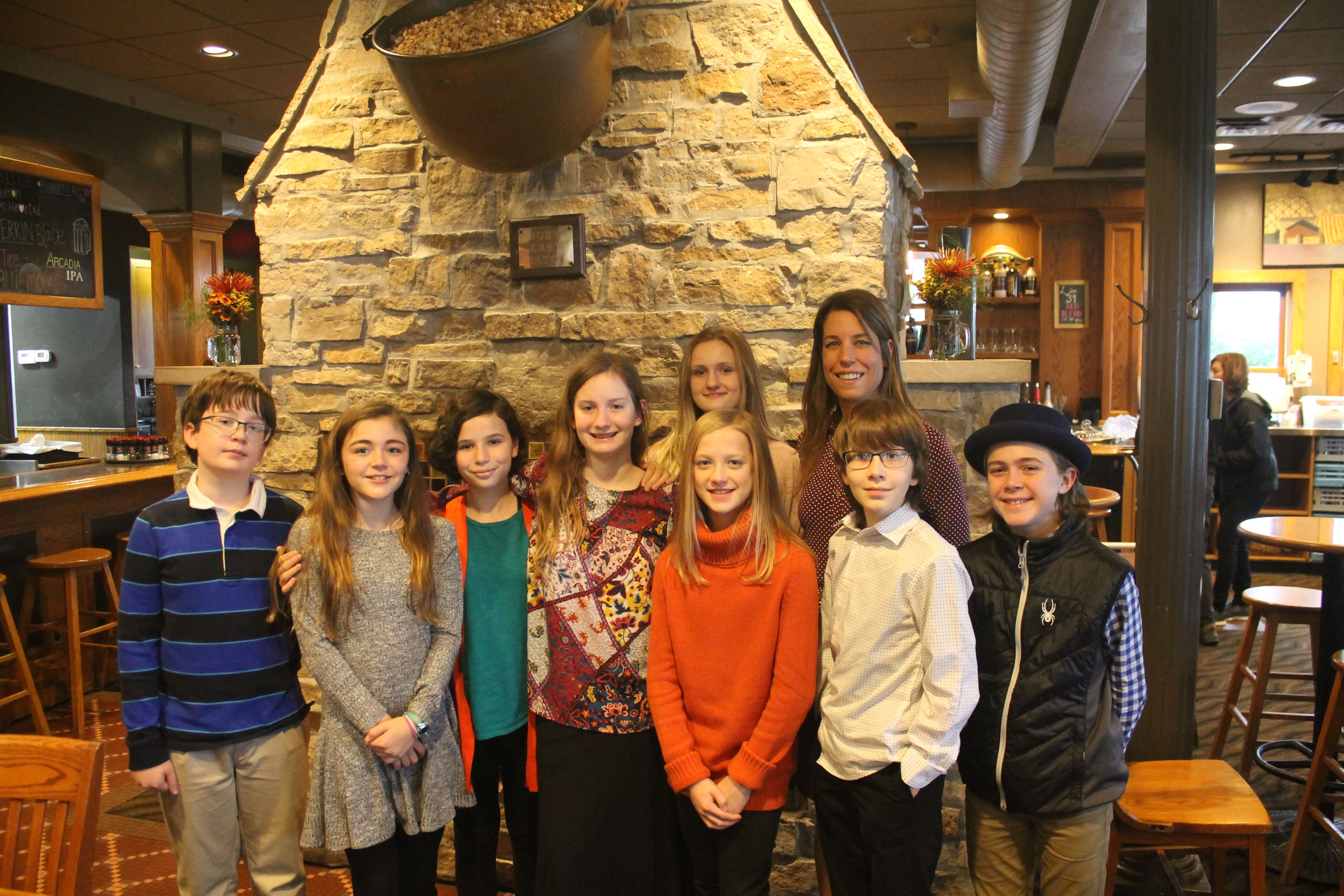 Becky Martin and students at Rose's after presenting about classroom beehives