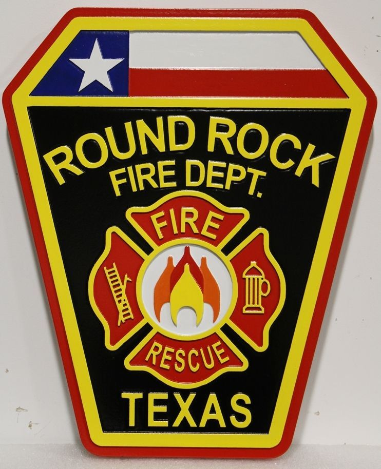 QP-2042 - Carved 2.5-D HDU Plaque of the Shoulder Patch of the Fire DepartmentofRound Rock, Texas