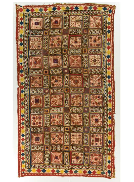 Ralli quilt, Mehar People, probably made in Dearo, Bahawalpur, Cholistan, Punjab, Pakistan, circa 1900, 81 x 46 in, IQSCM 2007.009.0001