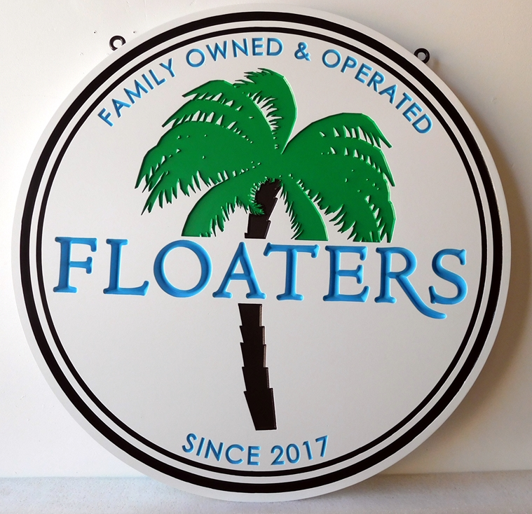 """L21140 - Engraved Sign for """"Floaters"""" Bar with  Palm Tree"""
