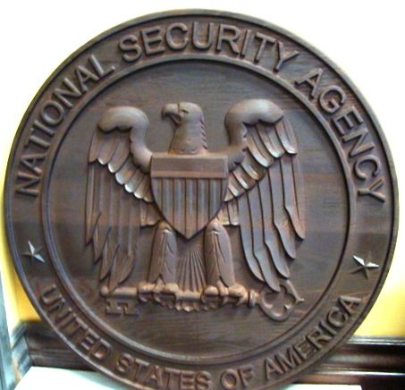 IP-1520-  Carved Plaque of the Seal of the National Security Agency (NSA), Stained Cedar Wood
