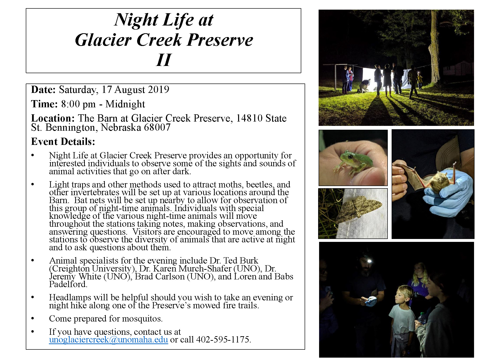 CE: Night Life at Glacier Creek Preserve