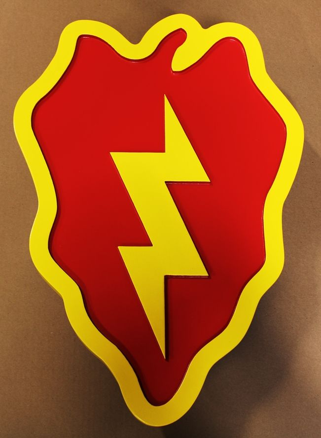 "MP-1596 - Carved wall Plaque of the Insignia of the 25th Infantry Division, ""Tropic Lightning"""