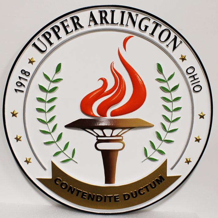 DP-2317 - Carved Plaque of the Seal of the City of Upper Arlington, 3-D arist-Painted