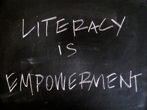 Literacy is Empowerment on chalkboard