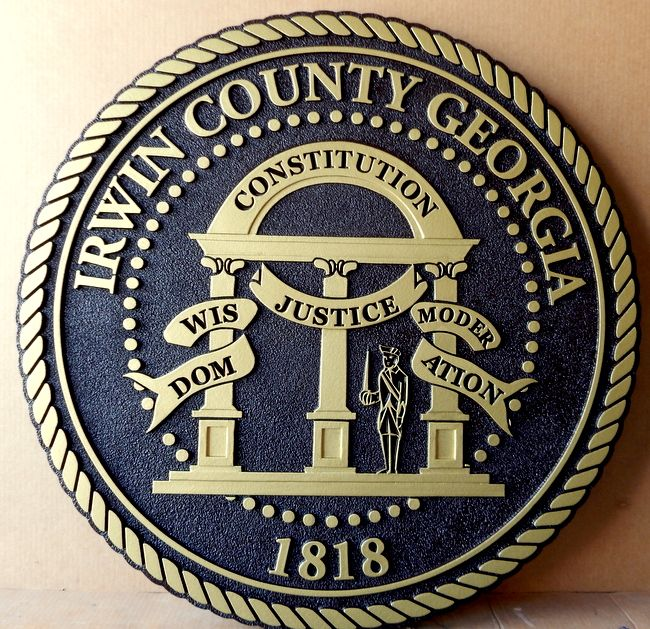 CP-1280 - Carved Plaque of the Seal of Irwin County, Georgia,  Artist Painted Brass Metallic