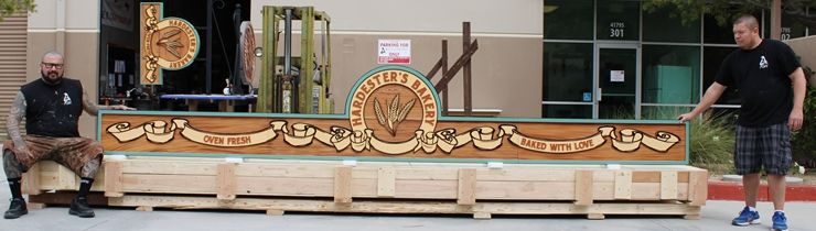 S28131 - Carved  Large High-Density-Urethane (HDU) Sign for Hardester's Bakery, Painted in a Faux Wood Pattern