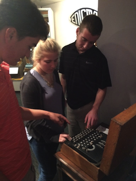 Students use Enigma machine