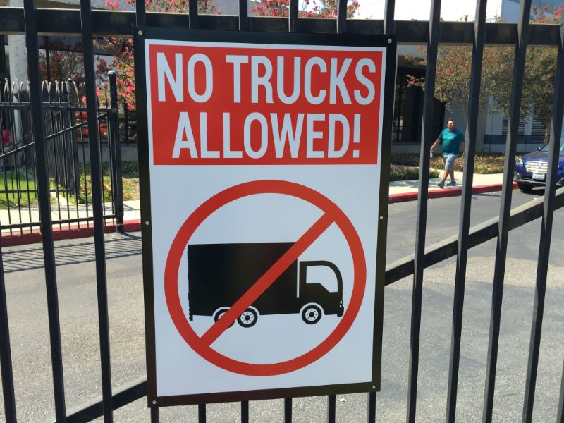 No Trucks Allowed Sign