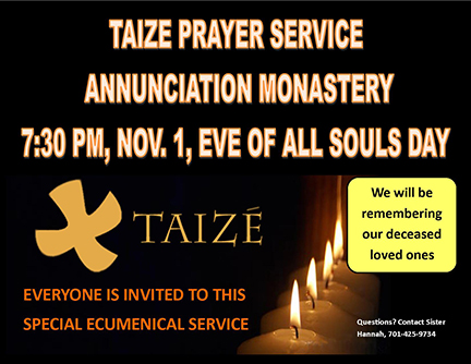 Taize Prayer Service on Nov. 1 Eve of All Souls Day