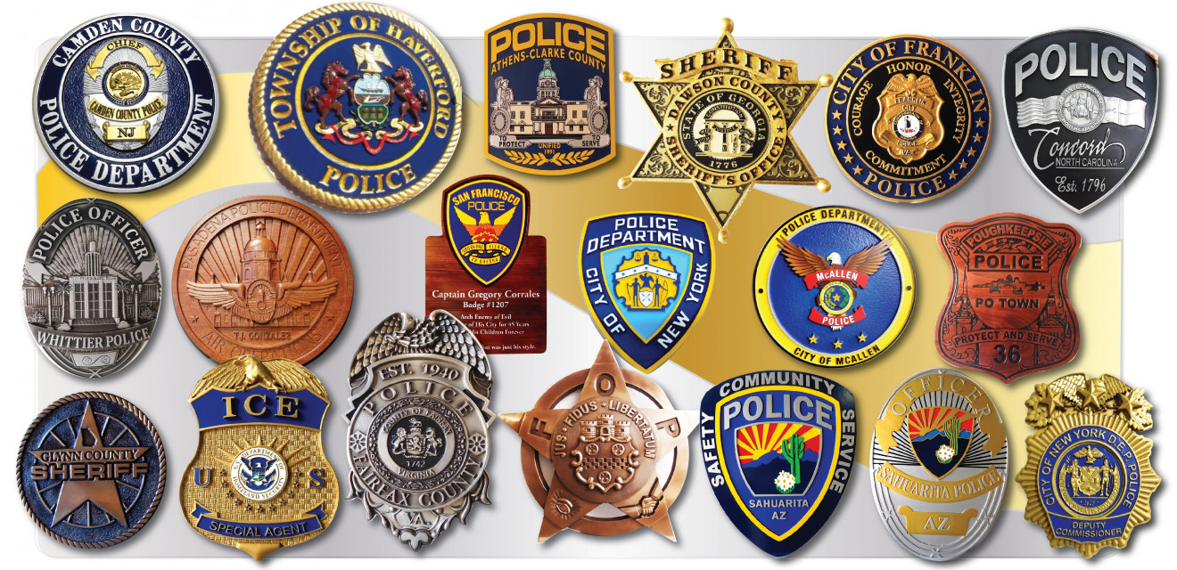 3d Brass Silver Painted Or Wood Police Badge Amp Patch Plaques
