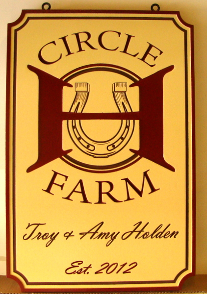 O24252-  Circle K Farm Sign with Horseshoe