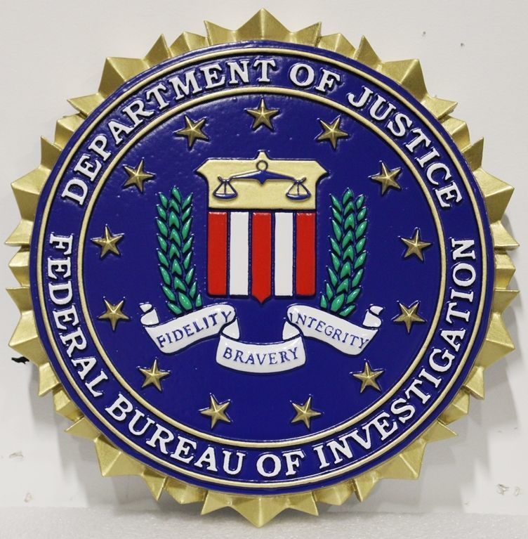 AP-2400 - Carved Plaque of the Seal of the Federal Bureau of Investigation (FBI), 3-D Artist Painted