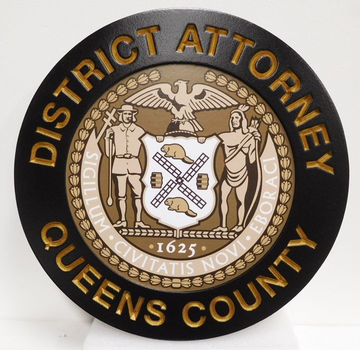 CP-1495 - Carved Plaque of the Seal of the District Attorney of Queens County, New York, 2.5-D with Giclee Applique