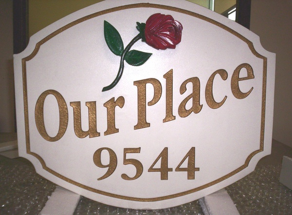 "I18218 - Carved Property Address Sign, with Rose , ""Our Place"""