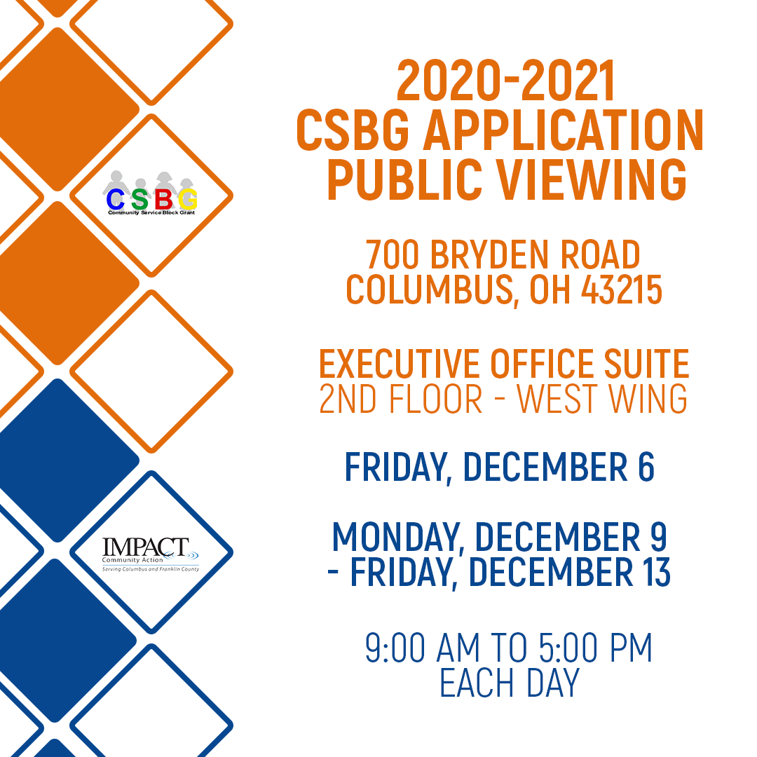 Public Viewing for 2020-2021 Community Service Block Grant (CSBG) Application
