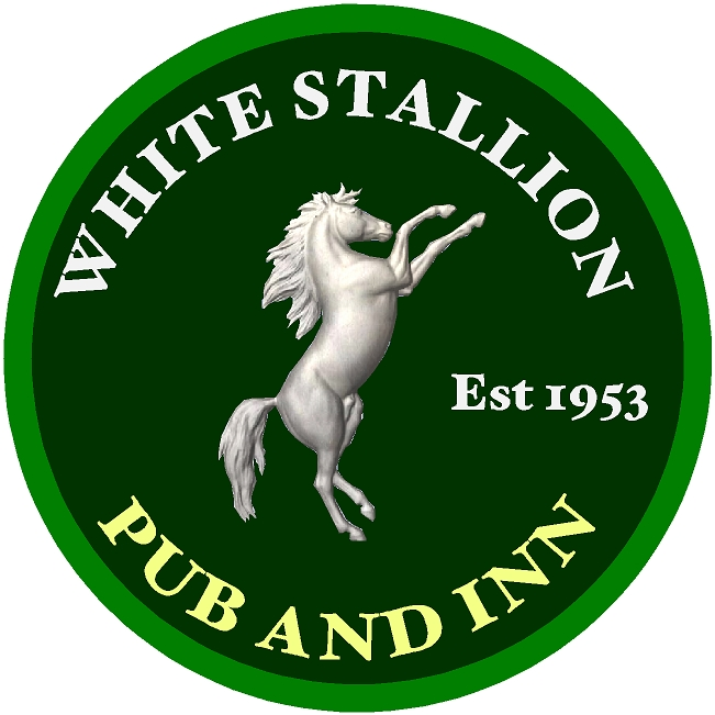 "T29116- Carved 3-D  HDU Sign for the ""White Stallion "", Pub and Inn, a Rearing White Stallion as  Artwork"