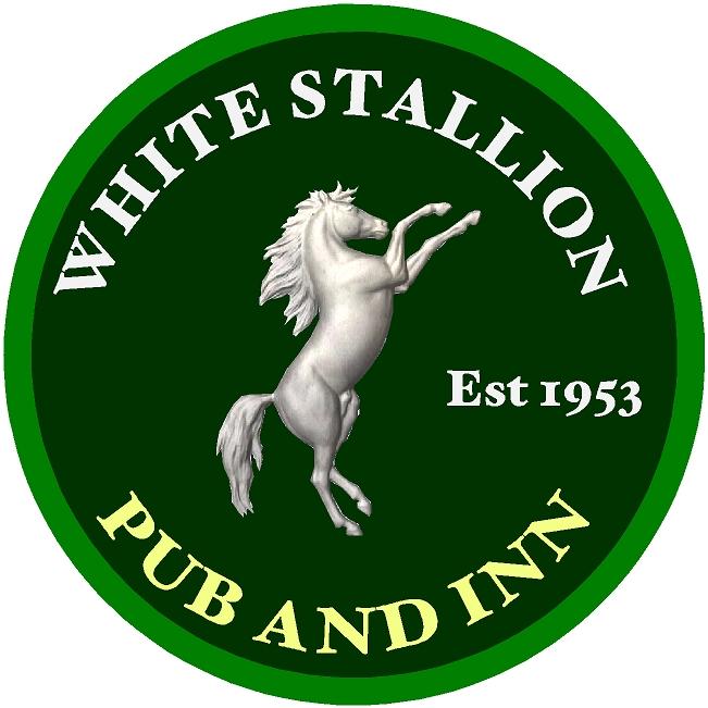 "T29116- Carved 3-D  HDU Sign for the ""White Stallion "", Pub and Inn, a Rearing White Stallion as  Artwork"